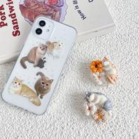 猫スマホグリップ  可愛い立体catグリップトーク  ポップソケット  スタンド機能付き  全機種対応 M777