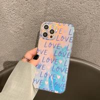 LOVE光る iphone11/12promaxケース おしゃれキラキラハート柄 iphonexr/xsmaxカバー  鏡面  綺麗M695
