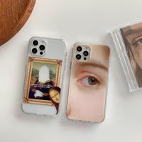 顔モナリザ  iphone12/11Proケース  お揃い アイフォンSE2/8カバー 抽象画風 高品質手触りいいスマホケースM338