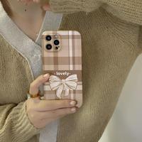 チェック柄リボン柄  iphone13/13proケース 秋の配色 キャラメルカラー iphone12/11proカバー  品質いい インスタ映えM1155