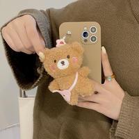 ぬいぐるみ持ち手付  iphone12/13proケース もふもふ  iphone11/SE2カバー  お揃い 可愛いキュート M974