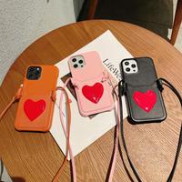 背面カード入れ付き iphone12/11ケース ハート柄 iphoneSE2/XSカバー 首掛け紐付き 高品質レザーアイフォンカバー M556
