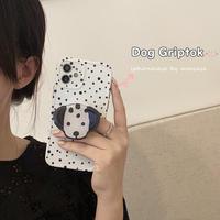 ダルメシアン柄スマホグリップ付 iphone11/12promaxケース イヌ白黒の模様 アイフォンSE2/xsカバー  スタンド機能付 可愛い 便利M709