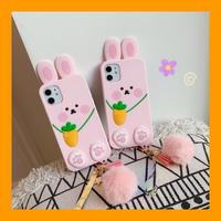 ウサギ iphone11/12proケース 兎アイフォンSE2/XSカバー ふわふわストラップ付 超可愛いピンク色系携帯カバーM241