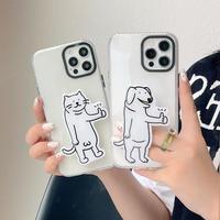 お揃い猫犬グリップ付  iphone12/13proケース  個性多機能 iphone11/XRクリアカバー   人気 可愛い M899