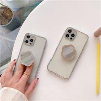 ミラーポップソケット付 iphone12/11ケース  スタンド 透明iphoneXS/SE2カバー  軽量持ちやすい ツヤ感ありファッションM418