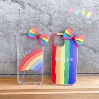 虹レインボークリアiphone12プロカバー リボン付 ガールズアイフォン12ミニ/SE2ケース 可愛い透明iphone12ケースM109