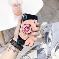 可愛い猪デザインのiphoneXS/XR/XS MAXケース  ポップソケット/スタンド付き