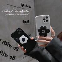 黒白系花スマホグリップ付  iphone11/12proケース お揃い iphonexs/se2カバー  スタンド機能あり 保護力強い 可愛いM727
