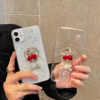 チェリー  iphone11/12proケース レースリボン付クリア iphonexs/se2カバー  ラメ入りグリッタースマホケース  可愛いM686