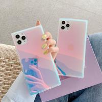 アイフォン12proケース 光る変色 ミラー iphone12mini/11promaxケース キラキラ スクエア四角 鏡面オシャレスマホケース カッコいいM106