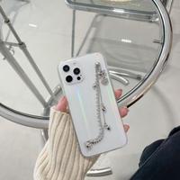 オーロラ光る透明iphone12/11ケース  おしゃれ チェーン持ち手付き アイフォンSE2/8クリアカバー ファッションガールズむけ 頑丈M408