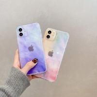 オシャレグラデーション色 iphone12/11Proケース  クリア透明 アイフォンSE2/8カバー 綺麗軽い使いやすい高品質ケースM350