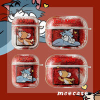 流れ砂のかわいいトムとジェリーのairpods proケース キラキラ猫エアーポッズカバー キャラクター[M00048]