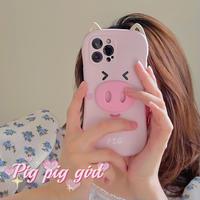 ピンクpig iphone11/12promaxケース イノシシ iphonexr/xsカバー  超キュート  可愛いM617