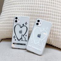 猫クリアiphone12proケース ハート柄アイフォンSE2/11PRO/8PLUSカバー 透明 写真入れる お揃いペアスマホケース カップル向M121