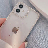おしゃれ真珠枠 アイフォン12mini/11proケース   グリッター透明iphoneSE2/XS/8カバー 綺麗 高品質頑丈 インスタ映え M456