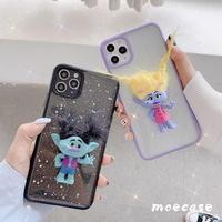トロール人形 iphone11proケース スマホケース 立体感 アイフォン12プロ/XS/SE2020カバー  黄色 黒色 髪型カスタマイズ  可愛い妖精携帯ケースM148