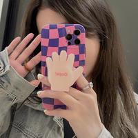手のひらスマホグリップ付 iphone11/12promaxケース チェック柄 アイフォンSE2/xsカバー  スタンド機能付 艶あり可愛いM694
