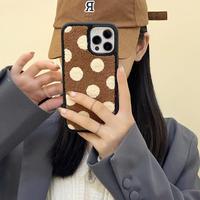 水玉模様 iphone13pro/13promaxケース 刺繍入り アイフォン12プロ/11カバー  秋の配色  耐衝撃 M1164