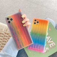 おしゃれiphone12proケース 透明スクエア キラキラアイフォン11プロ/XR/XSMAXケース クリアスマホカバー 虹光る綺麗スマホケースM116ホカバー 虹光る綺麗スマホケース