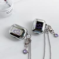 紫色 ハート柄 airpodsproケース  ダイヤモンドハート小物  airpodsカバー  銀色鏡面  首掛けチェーン付 M663
