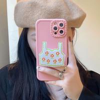花柄キャミソールグリップ付 iphone13/13promaxケース  ピンク  iphone12/11カバー 女子力アップ  可愛い耐衝撃M1053
