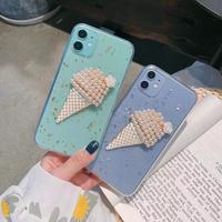 真珠アイスクリーム コーン  iphone12/11proケース  綺麗デコ iphoneSE2/XS/8カバー   可愛いクリアケース  インスタ人気  夏おすすめM535