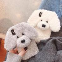 可愛いテディーTeddyデザインのiphoneXS/XR/XS MAXケース  犬 冬ファッション 暖かい ふわふわ