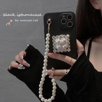 おしゃれ真珠スマホグリップ付 iphone12/11ケース 真珠チェーン付 iphoneSE2/XSカバー 綺麗 耐衝撃 黒色系 M730