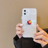 アップル柄 iphone13pro/13promaxケース クリア アイフォン12プロ/11proカバー  高透明感  耐衝撃 M1168