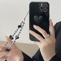 ストラップ付 iphone13pro/13promaxケース ハート型 ブラック系 iphone12/11promaxカバー   耐衝撃 カッコイイ 可愛いM1050