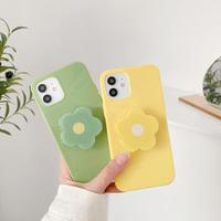 折り畳み式花グリップ付  iphone13/12proケース  お揃い iphone11/xs/se2カバー  green yellow 頑丈艶ありM738