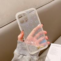 光るハート柄 アイフォン13/13promaxカバー 耐衝撃全面保護  iphone12/11promaxケース   きれい 透明  頑丈M1111