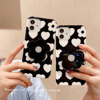 花スマホグリップ付 iphone11/12promaxケース 黒白系 アイフォンSE2/xsmaxカバー  頑丈 スタンド機能付 可愛いM696