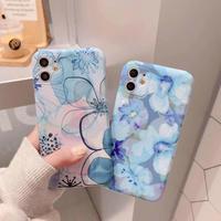 青い花柄のアイフォン11proカバー オシャレな花携帯ケース 春夏スマホケース 可愛いgirls向け[M00051]