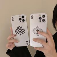 トランプカード iphone13pro/12promaxカバー スペード/クラブ  iphone11/XSmaxケース  面白い マット 指紋防止 M1120