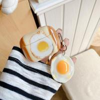 目玉焼き airpodsproカバー  トースト 可愛いキーホルダー付 エアポッツケース    個性  面白いM967