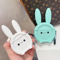rabbit Airpodsproケース  ウサギデザイン エアポッズカバー リング付 可愛い動物デザイン  お揃い頑丈 リング付 M374