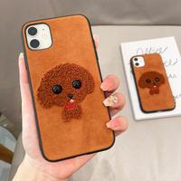 刺繍入りプードル iphone13/13proケース 高品質 iphone12/11promaxカバー 可愛い 秋冬  ファッションM1176