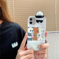 パンダ付き iphone12/11ケース panda立体アイフォンXS/SE2カバー 頑丈耐衝撃可愛いスマホケースM350