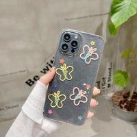 蝶花柄 iphone12/13promaxケース  ラメ入り iphone11/8Plusカバー   かわいい  綺麗M948