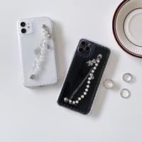 真珠チェーン付 アイフォン11/12proケース クマ人形 持ち手付 iphoneSE第二世代クリアカバー 女子力アップ透明ケース M355