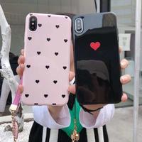 可愛いハート柄 iphoneXS/XRケース ストラップ付 ピンク黒 お揃い携帯ケース GIRLSにおすすめ