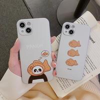 パンダ 鯛焼き iphone13pro/13promaxケース 銀色マット アイフォン11promax/xsmaxカバー  お揃い 耐衝撃 指紋防止M1166