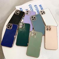 シンプル風ツヤあり iphone12pro/SE2ケース 金色枠ツヤ高級感アイフォン11promax/XSMAXカバー  頑丈耐久性耐衝撃ソフトケース M307