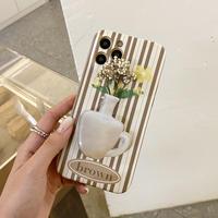 花瓶グリップ付き iphone13/13proケース  縞模様花柄 アイフォン12/11カバー SNS人気 可愛い M1160