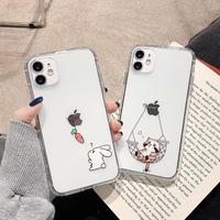可愛い猫/兎 iphone13pro/12promaxケース 高透明感艶カラー アイフォン11promax/SE2カバー  お揃い 面白いギフト携帯ケースM1158