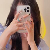 bear指輪付 iphone11/12proケース 個性持ち手透明 iphoneSE2/xsmaxカバー  ガールズ人気  持ちやすい頑丈M615