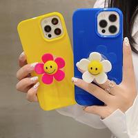 笑顔の花のグリップ付  iphone12/13proケース  艶カラー iphone11/XSカバー  お揃い 可愛い M914
